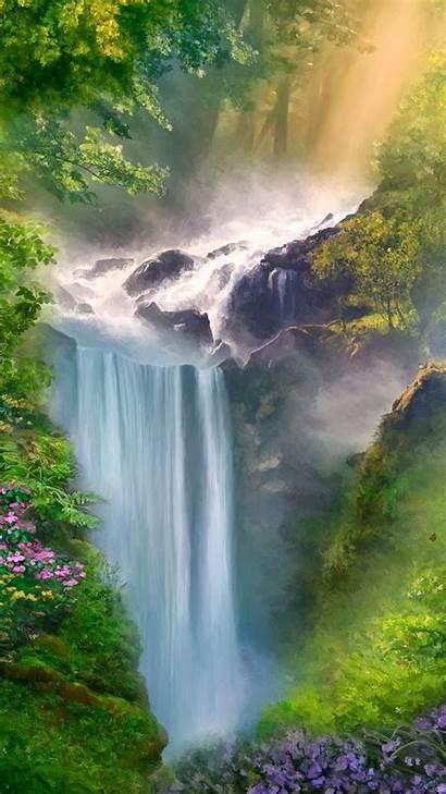 Spring Phone Waterfall Desktop Computer Purple Wallpapers