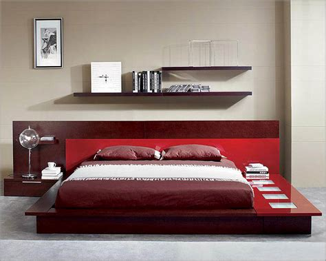 modern wenge red finish bed  night stands