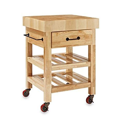 Crosley Marston Butcher Block Rolling Kitchen Cart Bed