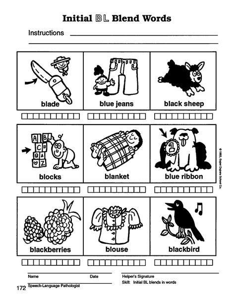 articulation worksheets l blends speech therapy with miss l blend words
