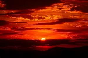 Free photo: Sunset, Red, Sky, Fiery, Orange