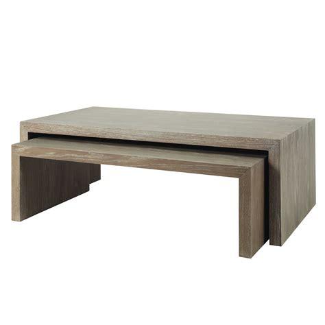 tables basses gigogne en bois grises   cm    cm baltic maisons du monde salon