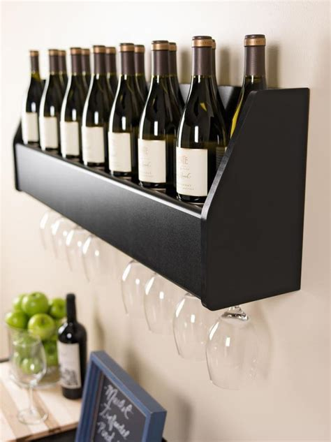 Kitchen Kaboodle Wine Racks by Floating Wall Mount Wine Rack Glass Holder Storage Bar