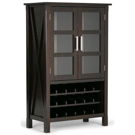 simpli home kitchener solid wood high storage wine rack