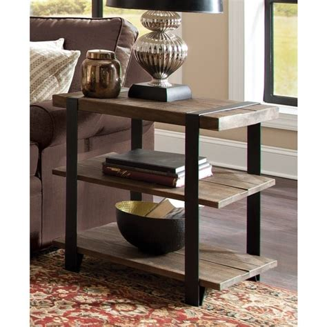 Coffee tables barnwood coffee table plans distressed wood end. Modesto Rustic Natural Metal Strap and Reclaimed Wood 2-tier End Table - 18825247 - Overstock ...