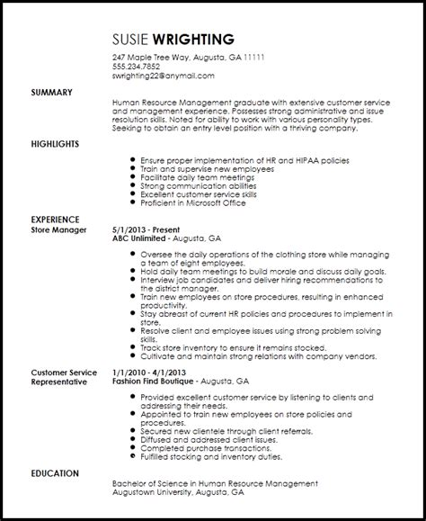 Resume Template Entry Level by Free Entry Level Recruiter Resume Template Resume Now