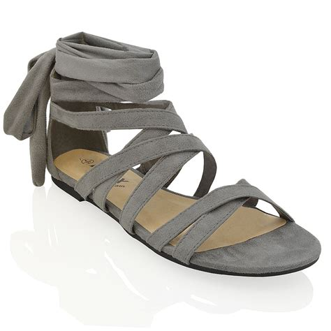 womens lace  flat ankle tie wrap summer ladies strappy