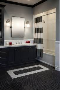 black white grey bathroom ideas there 39 s nothing more classic than a black white bathroom with subway tile and rounds
