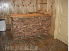 kitchen island stone front Interior faux rock wall