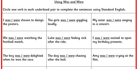using was and were ks2 spag test practice classroom secrets