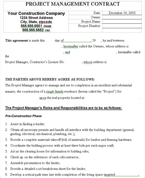 project management contract construction work