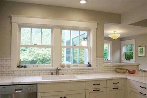 Kitchen Window Backsplash by Neutral Transitional Kitchen With Subway Tile Backsplash