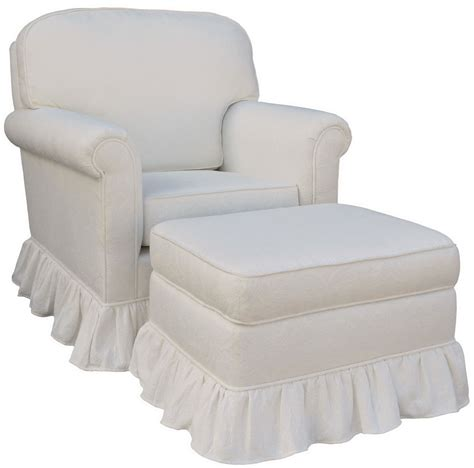 glider chair and ottoman angel song white matelasse upholstered rocker glider chair