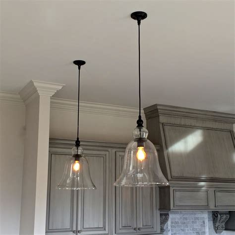 glass hanging light fixtures above kitchen counter large glass bell hanging pendant
