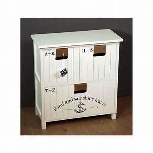 Meuble Bas Entrée : meuble bas de rangement tiroirs en bois blanc biarritz ~ Edinachiropracticcenter.com Idées de Décoration