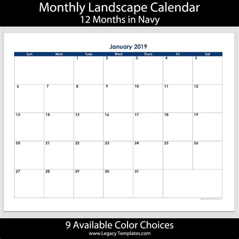 month landscape calendar     legacy