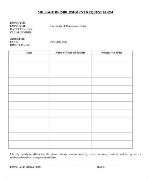 mileage reimbursement form 9 free sle exle format free premium templates
