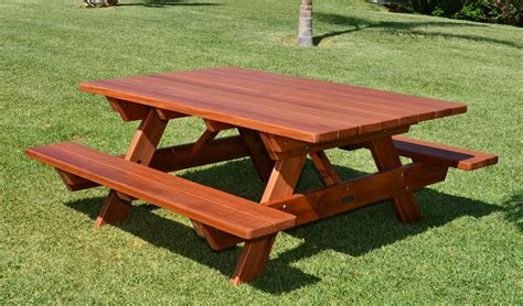 bench picnic table redwood picnic table customize your redwood table