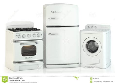 stainless steel stove and refrigerator set of home retro appliances stock illustration image