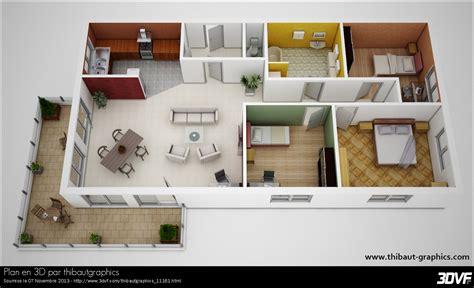 chambre 3d plan maison plain pied 3 chambres 3d maison moderne
