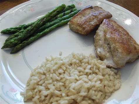 grouper rice brown gulf coast fried asparagus grain bread whole tonight dinner