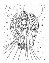 Coloring Angel Adults Teens Pages Anime Printable Wings Floating Clipart sketch template