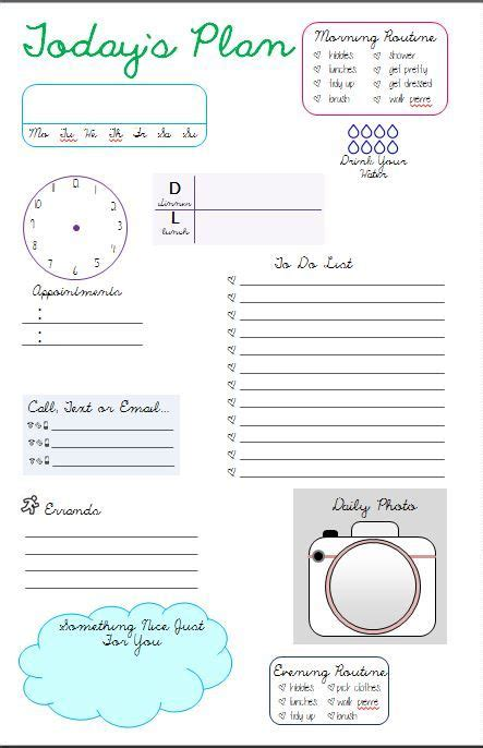 daily page template daily planner pages planner