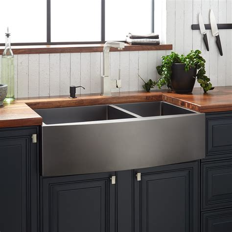 Black Stainless Steel Farmhouse Sink by 33 Quot Atlas 60 40 Offset Bowl Stainless Steel