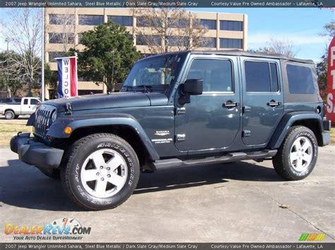 jeep grey blue 2007 jeep wrangler unlimited sahara steel blue metallic