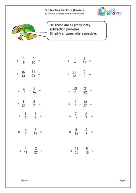 harder subtracting fractions harder fraction
