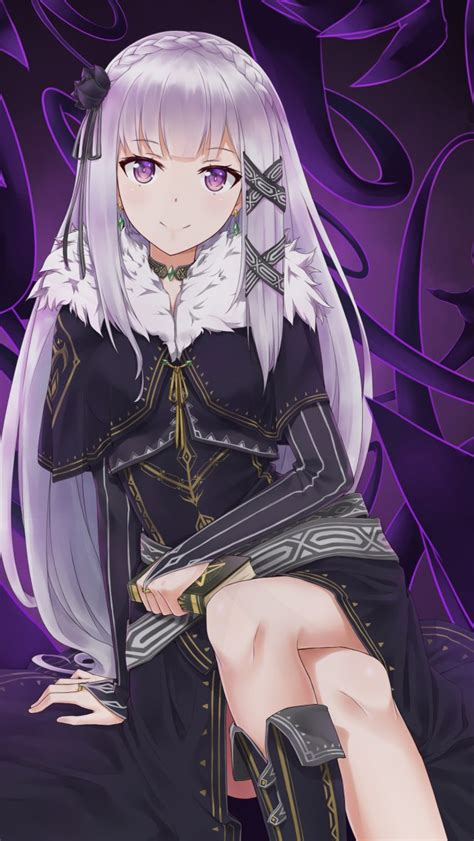 wallpaper rezero emilia hd  anime  wallpaper