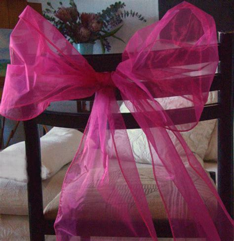 fuchsia pink organza chair sashes pack of 10