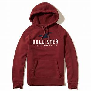 Hollister Logo Graphic Hoodie in Red for Men   Lyst