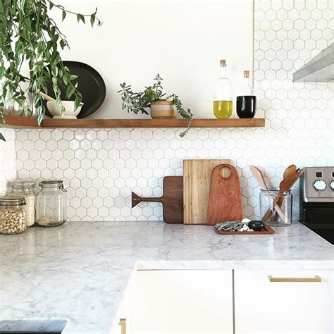 hexagon tile kitchen marble counter white hexagon tile backsplash wood shelving design and decor pinterest