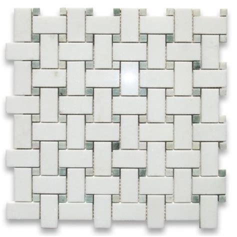 Thassos White 1x2 Basketweave Mosaic Tile Ming Green Dots