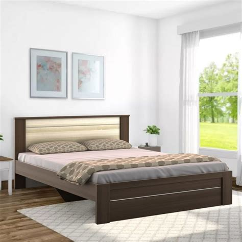 buy omega engineered wood queen size bed  brown white