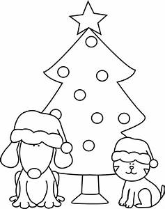 Black and White Christmas Dog, Cat, and Tree Clip Art ...