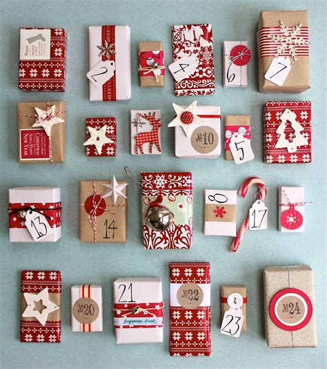 christmas advent calendar red and white kraft paper