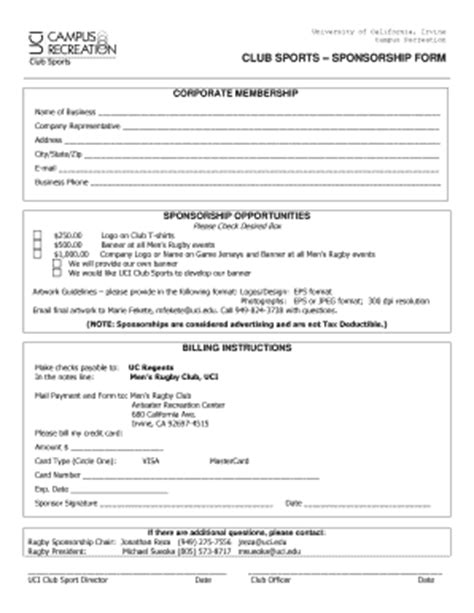 With the rising cost of health insurance, a tax deduction can help. Sponsorship Forms Of Recreation - Fill Online, Printable, Fillable, Blank   PDFfiller