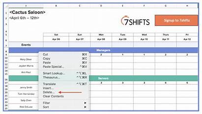 Restaurant Template Excel Schedule Table Scheduling Week