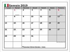 Calendario gennaio 2019, Italia