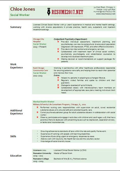 social worker resume template 2017