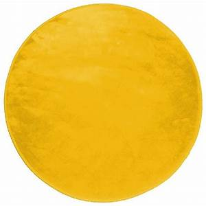 tapis rond 0 90 cm velours uni louna moutarde achat With tapis rond de couleur
