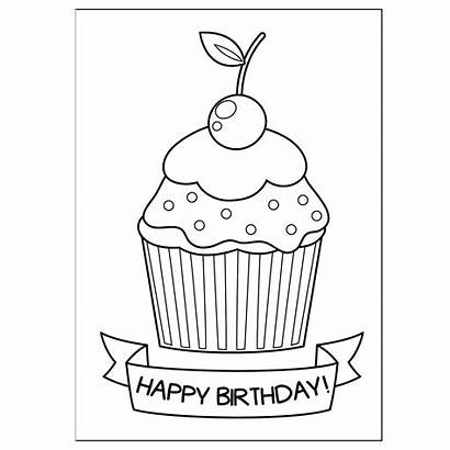 Birthday Coloring Cards Happy Greeting Printable Card