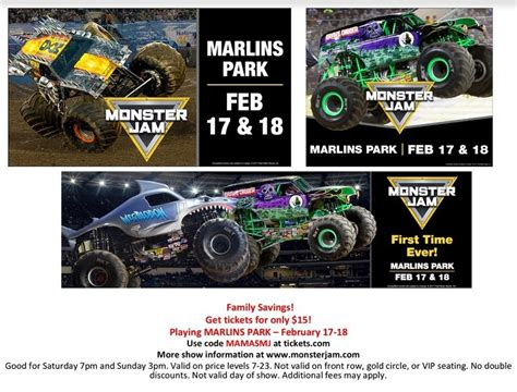 monster truck jam discount code monster jam at marlins park discount code ticket giveaway
