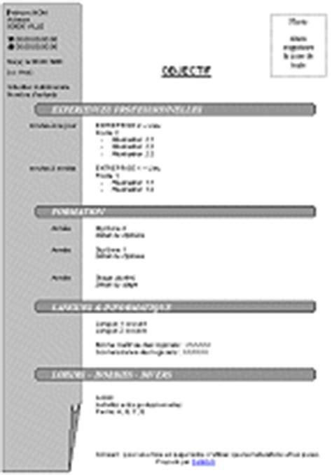 Formulaire Cv Gratuit by Exemple De Cv Francais Word Exemple Cv Francais Gratuit