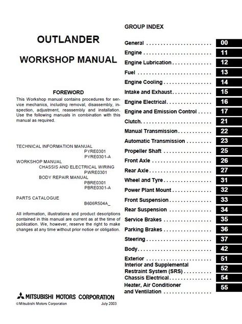 car repair manuals online pdf 1995 mitsubishi rvr electronic throttle control mitsubishi outlander 2003 2006 workshop manual pdf