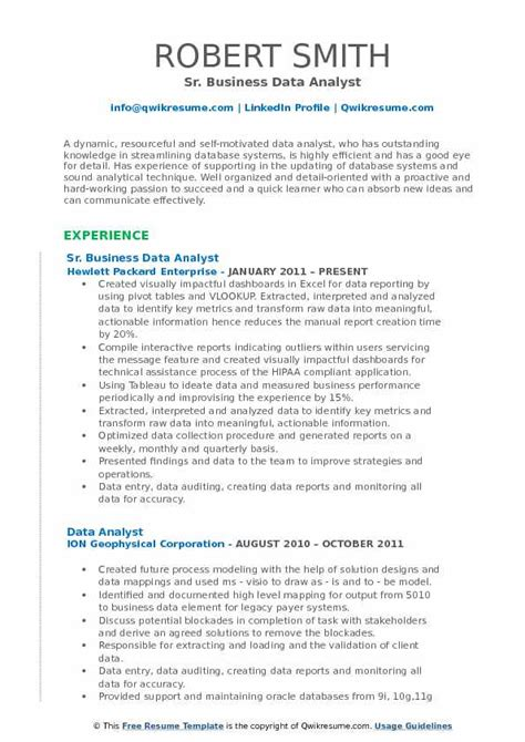 How To Compile A Resume by Business Data Analyst Resume Sles Qwikresume