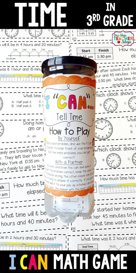 3rd Grade Telling Time & Elapsed Time Game  3rd Grade Math Game Math Centers  3rd Grade Math