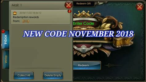 redeem code november  legacy  discord youtube